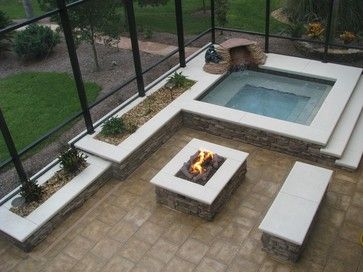Fire Pit In The Pool Cage In 2019 Hot Tub Backyard Hot