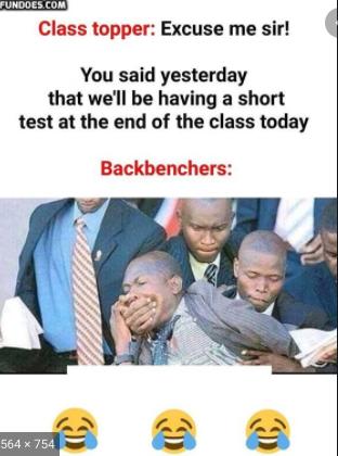 #ClassTopper #BackBenchers #True #Relatable #Memes #Funny #Students #Class #School #Test