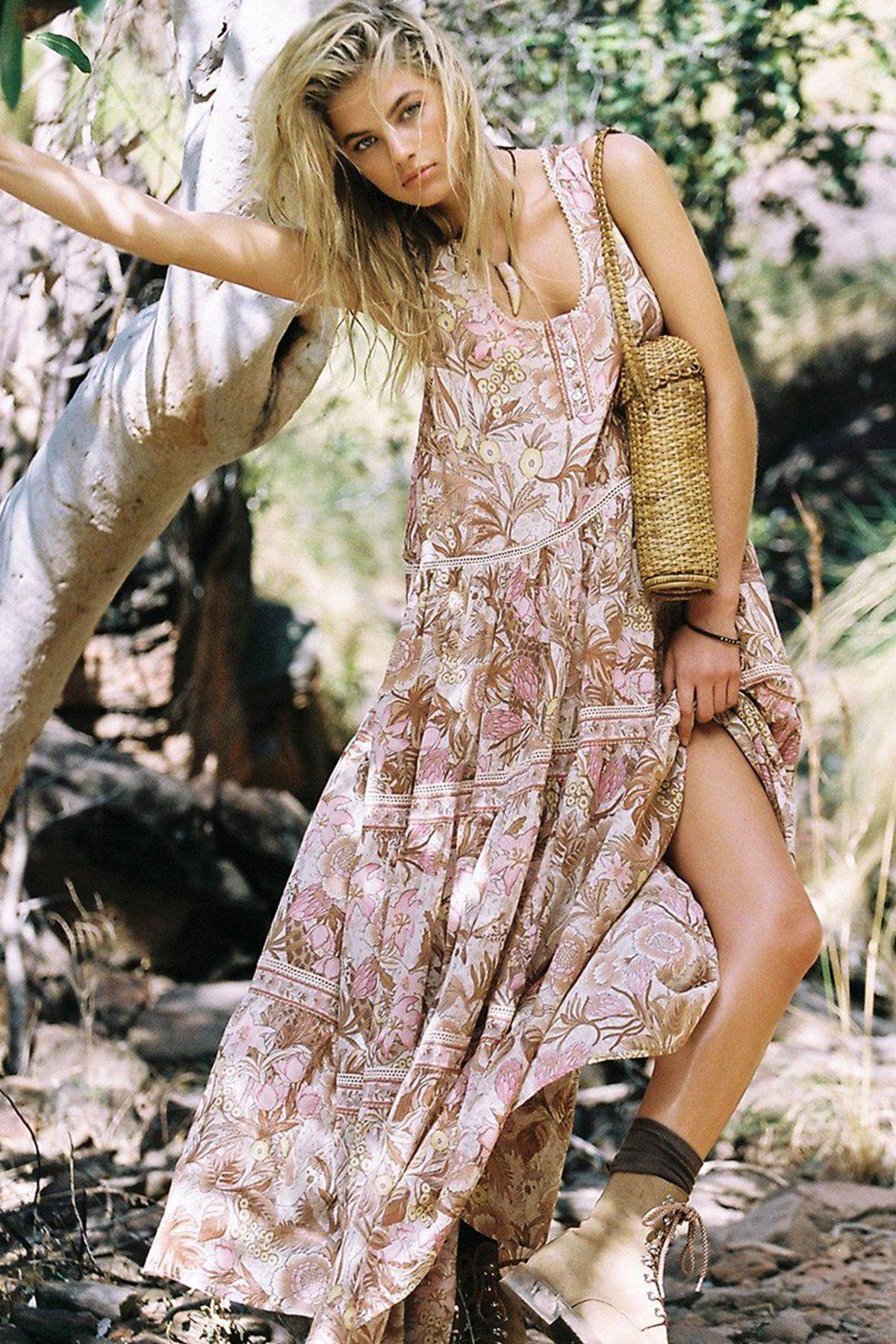 573e8d03d6 Maxi Dress, Boho Dress, Sleeveless, Wild Jungle in Pink Only $28.99 + Free