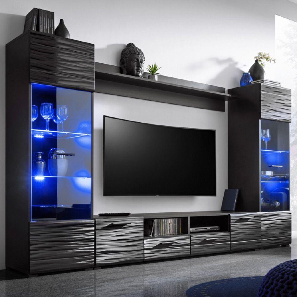 Modica Black Wavy Wall Unit Modica Meble Furniture Wall Units Modern Tv Room Tv Cabinet Design Tv Room Design
