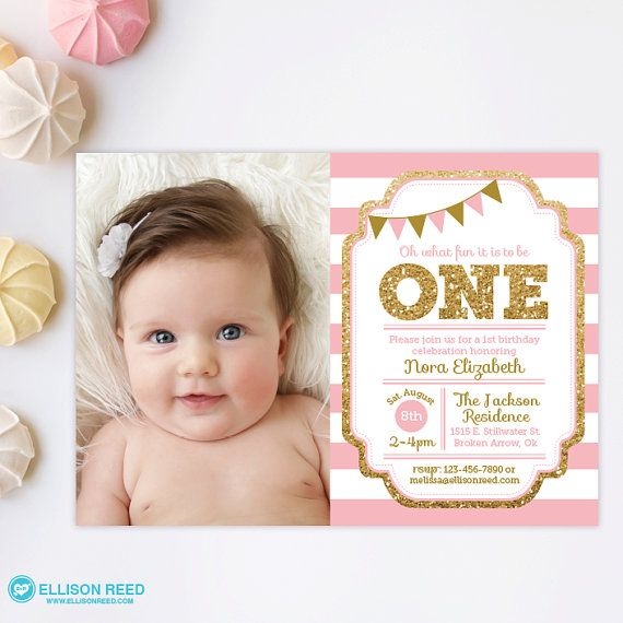 Pink And Gold St Birthday Invitation Girl Any Age Pink Gold - First birthday invitations girl pink and gold