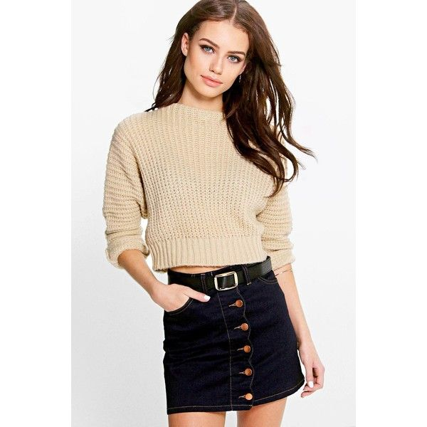 Boohoo Sarah Funnel Neck Batwing Crop Jumper ($20) ❤ liked