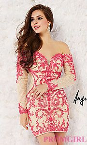 Buy Short Beaded Off the Shoulder Dress by Angela and Allison at PromGirl