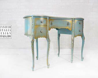 Vintage MakeUp Vanity - Custom Order Hand Painted Make Up Vanity French Romantic