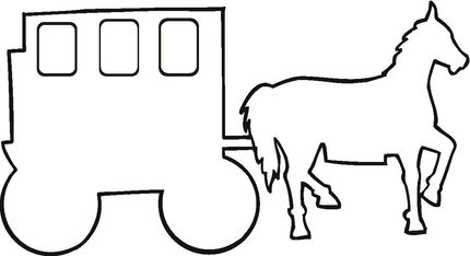 Carriage Outline  coloring page. Could be used as a template for scrapbooking