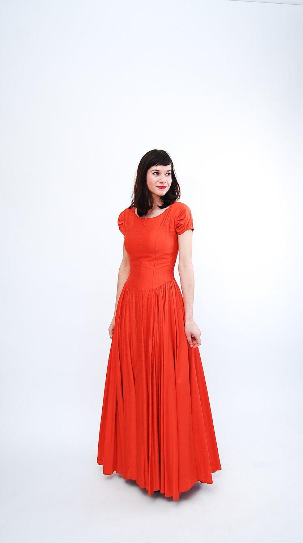 Vintage 1950s Evening Gown 50s Formal Dress Tangerine Etsy Vintage Formal Dresses Evening Gowns 50s Formal Dress [ 1500 x 838 Pixel ]