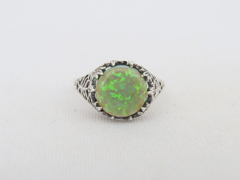 Vintage Sterling Silver Green Opal Filigree Ring Size 8 by wandajewelry2013 on Etsy