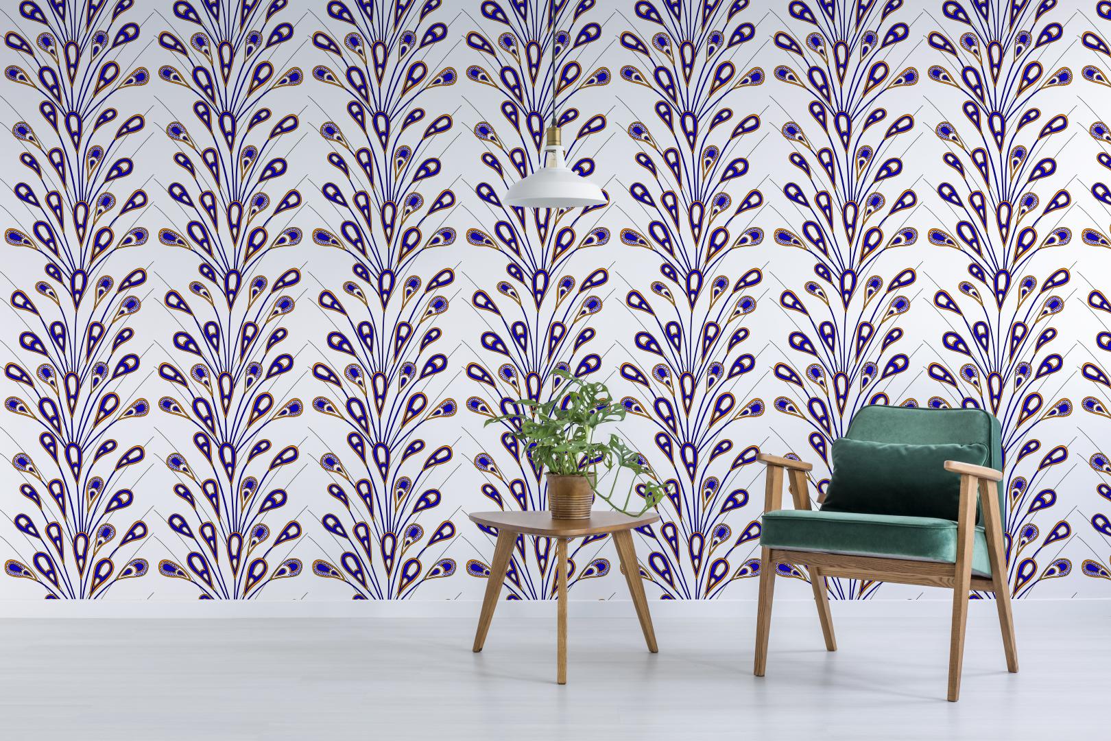 Blue Peacock Ankara Peel & Stick Wallpaper Unique