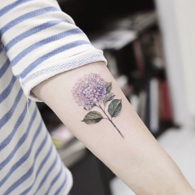 Forearm Hydrangea Tattoo I Love The Placement And Colours Hydrangea Tattoo Tattoos Flower Tattoo