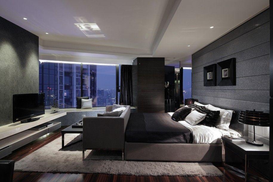 Modern Bedroom Rug: Grey Sofa And Charming White Fur Rug Dark Hardwooden Floor