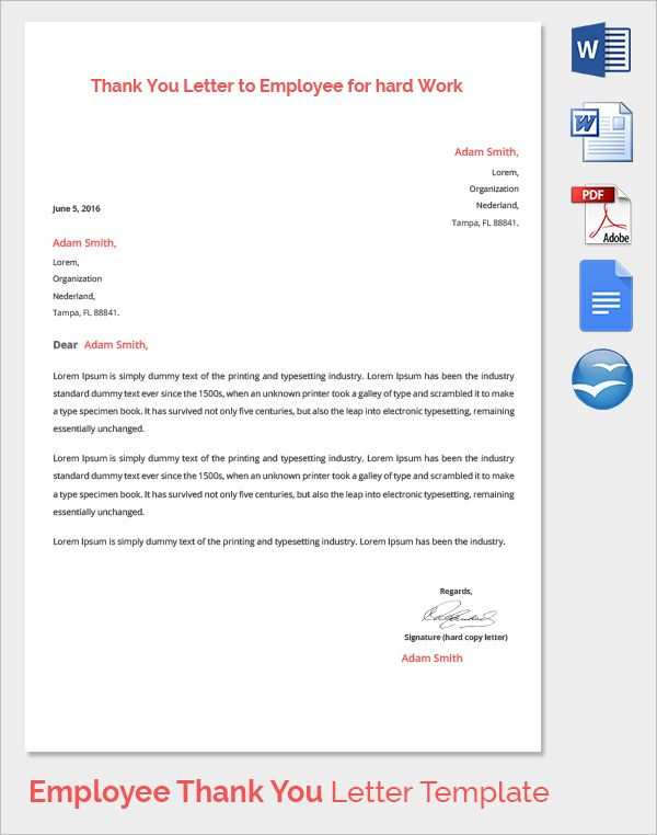 Sample Thank You Letter Employer Download Free Documents Letters