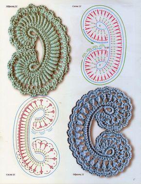 crochet beauty flowers and leaves motives | make handmade, crochet, craft                                                                                                                                                      Plus