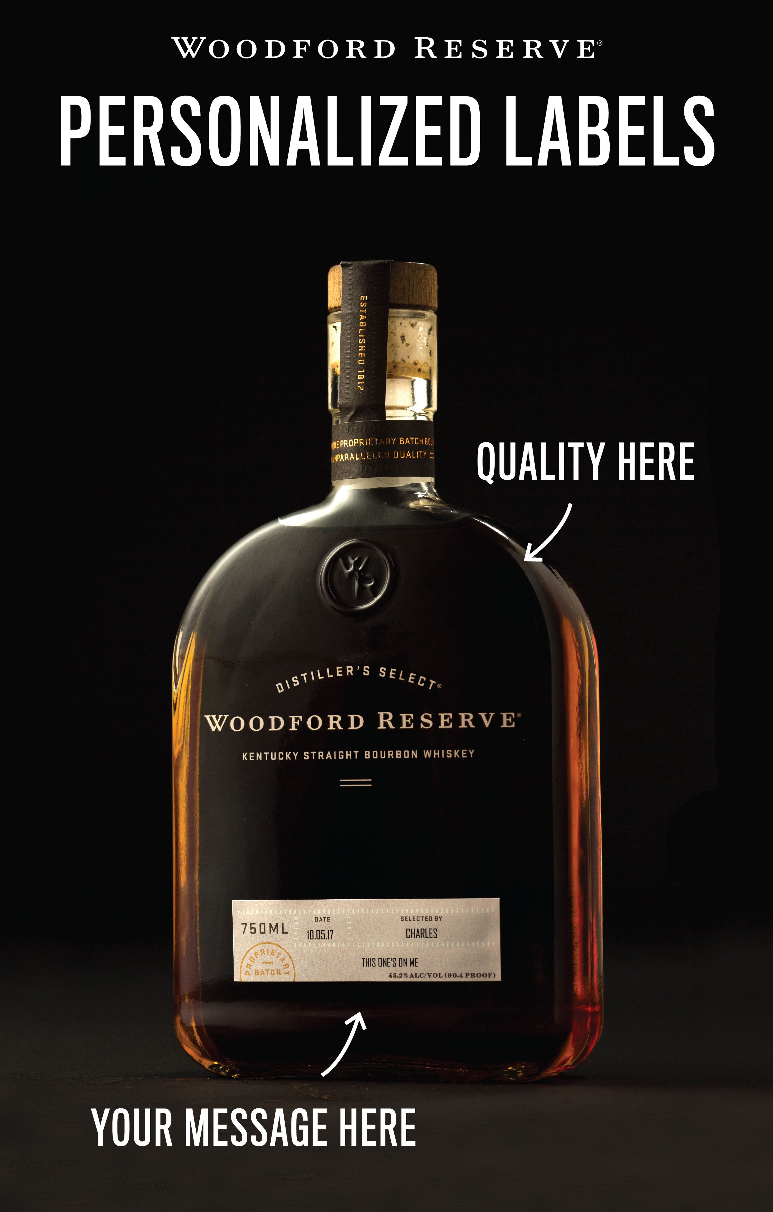 It is a picture of Stupendous Woodford Reserve Personalized Label Program