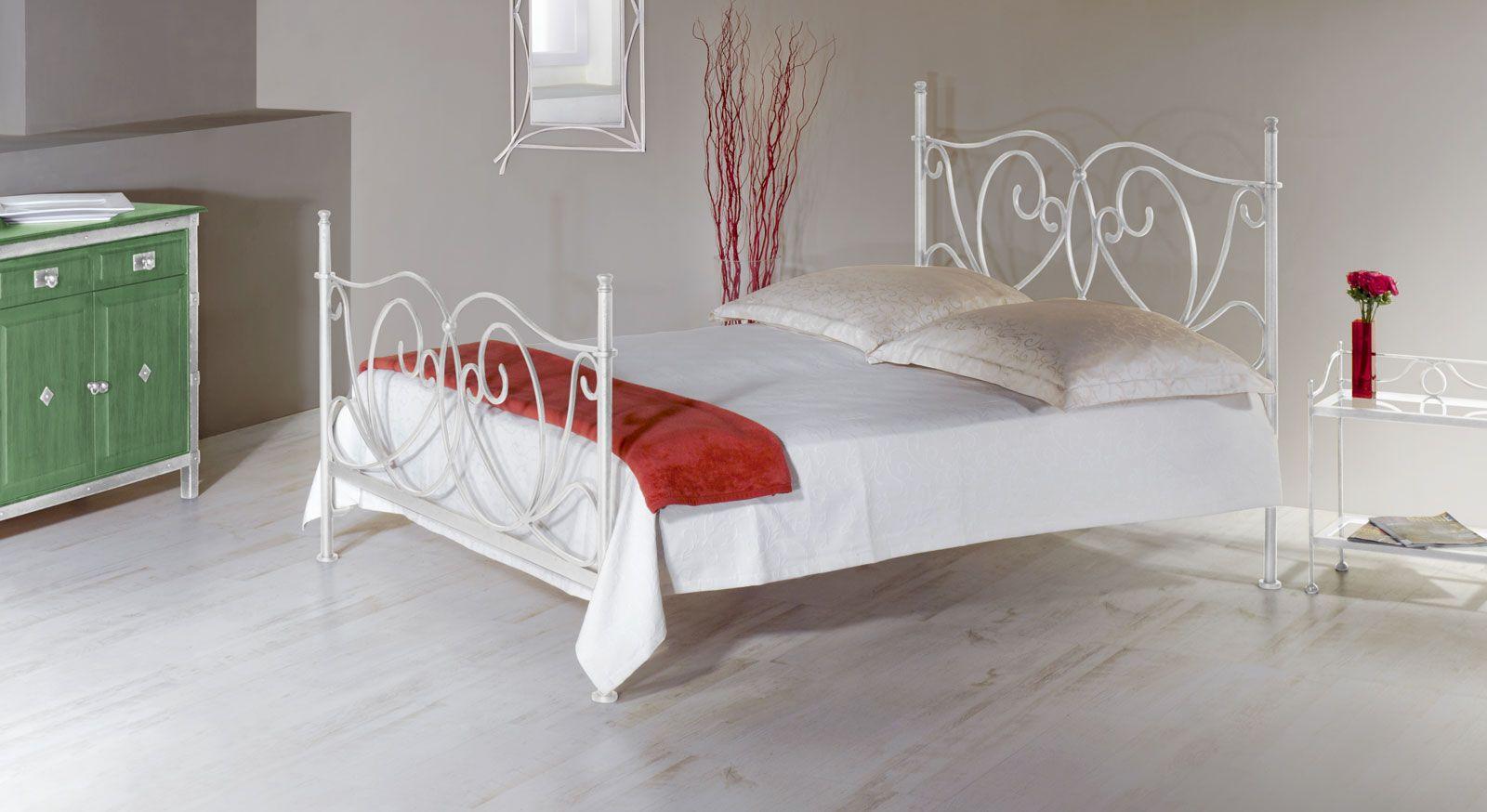 Metall Bett San Pedro Weiss Silber Gewischt Gr.