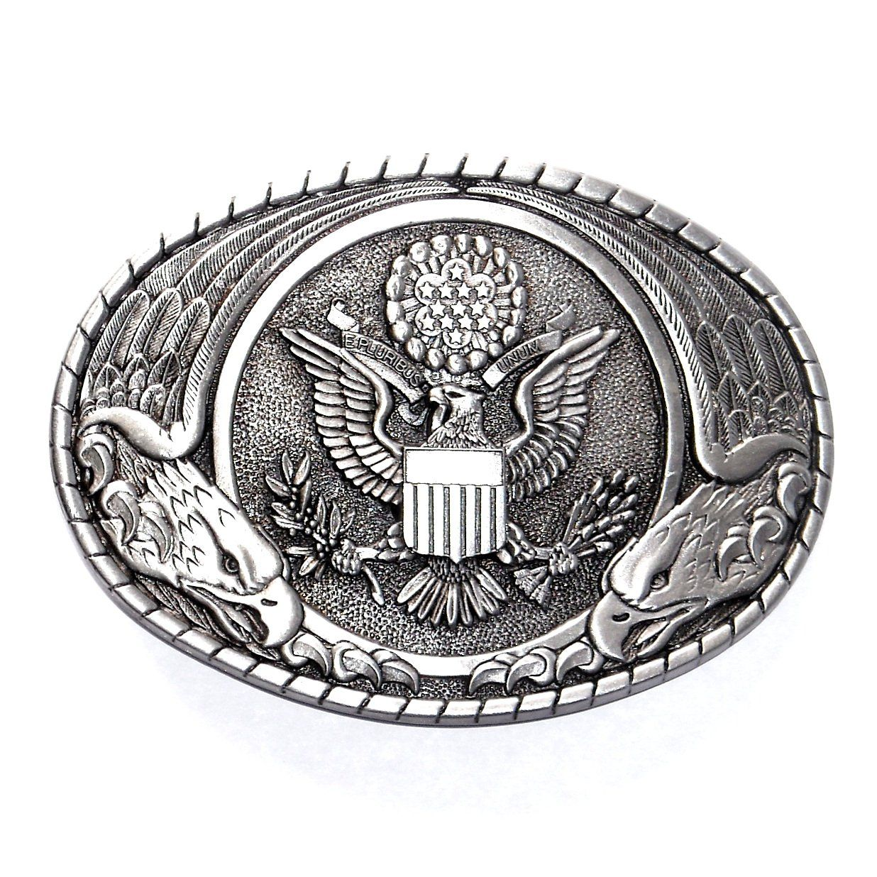 Small buckles for crafts - United States Seal Indiana Metal Craft Solid Pewter Classic Western Belt Buckle