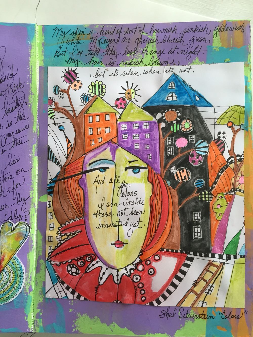 Coloring journal page by Kim Collister.