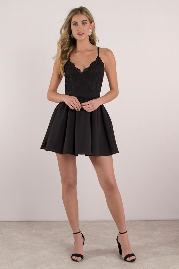 778bfdb580 You ll get part romance and part sass with the Mila Black Lace Pleated  Skater Dress designed by Tobi! Featuring a beautiful sheer lace with a deep  v-n   ...