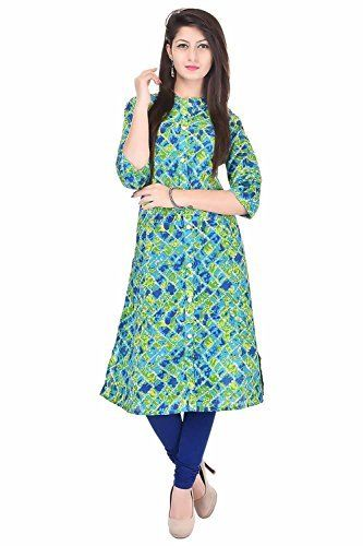 Bright Cotton Kurtis for Women (Cotton , Green , Multicolor , Banded Collar  ) BCRMF