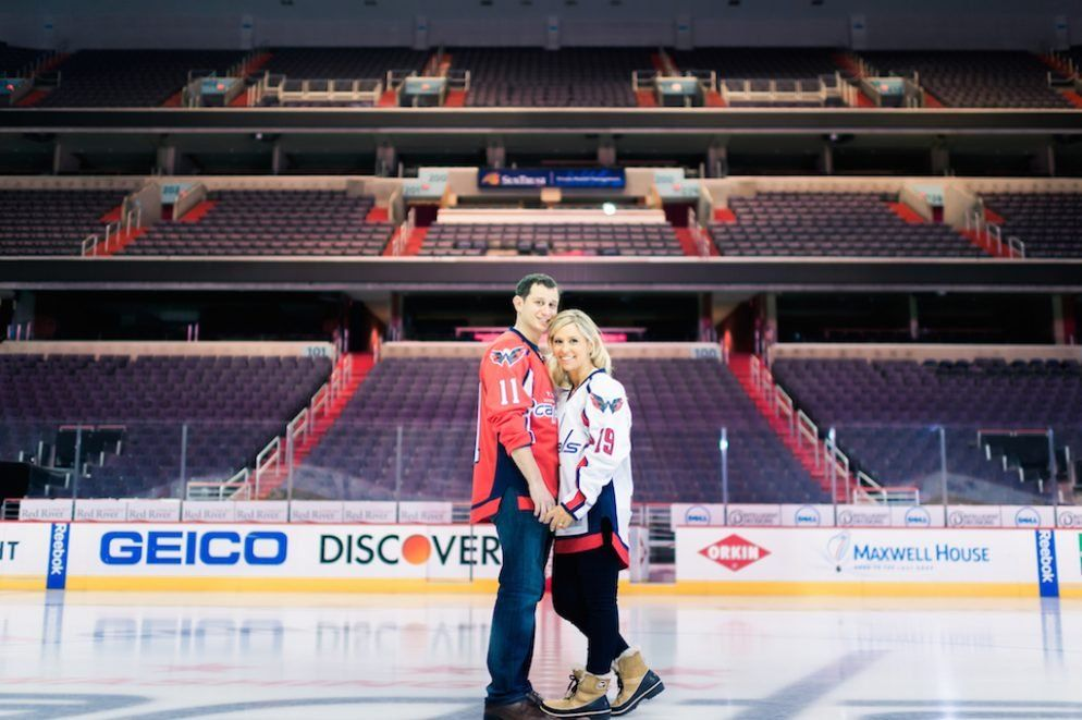 This Hockey Engagement Shoot at the Verizon Center is Every Caps Super-Fan's Dream | Washingtonian (DC)