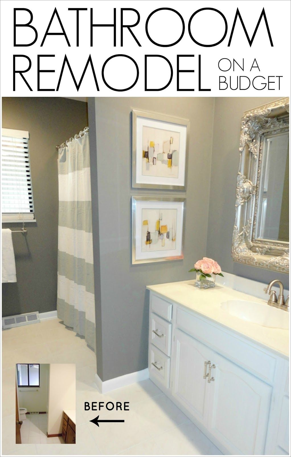 diy bathroom remodel on a budget see how this blogger completely rh pinterest com Bathroom Renovations On a Budget Small Bathroom Makeovers On a Budget