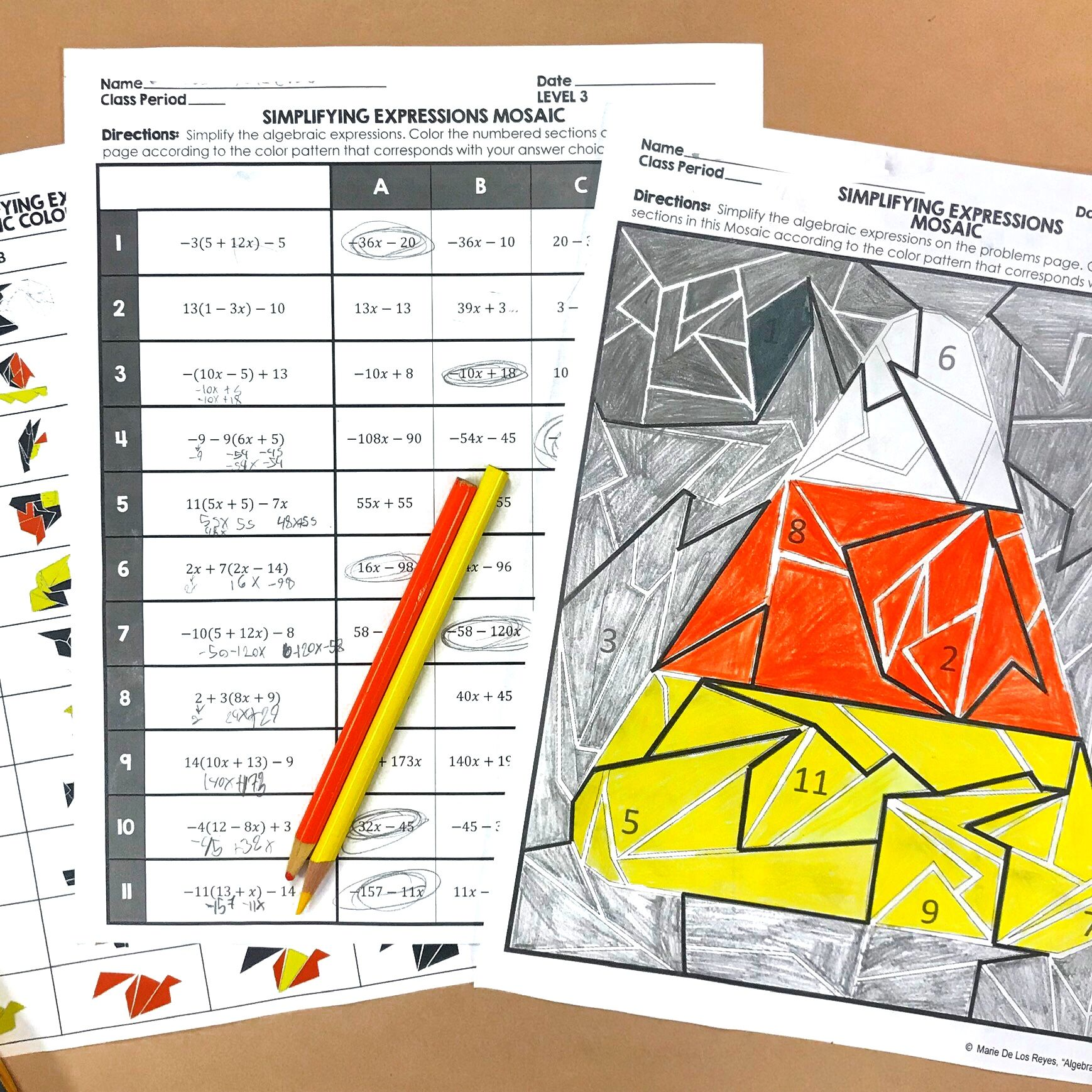 Halloween Math Algebra Simplifying Expressions Coloring