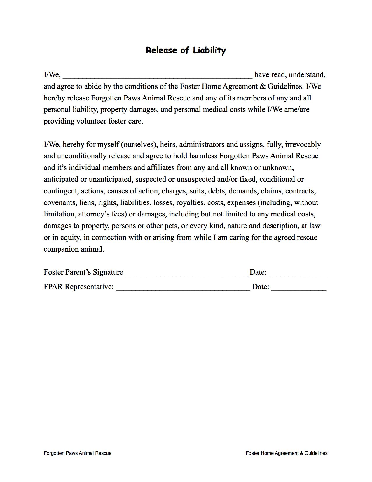Fpar Foster Home Agreement  Guidelines  Page   Release Of