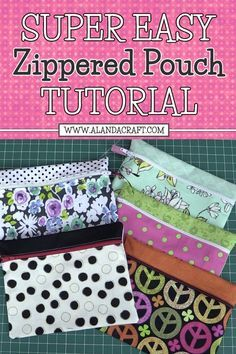 Zippered Pouch Tutorial. Super easy to do. Great for a beginner who has never sewn a zip before.