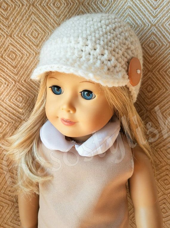 Crochet Pattern Doll Hat, 18 inch Doll Hat, Doll Crochet Patterns, Newsboy Doll Hat, Crochet Pattern, American Doll Clothes, American Girl #dollhats