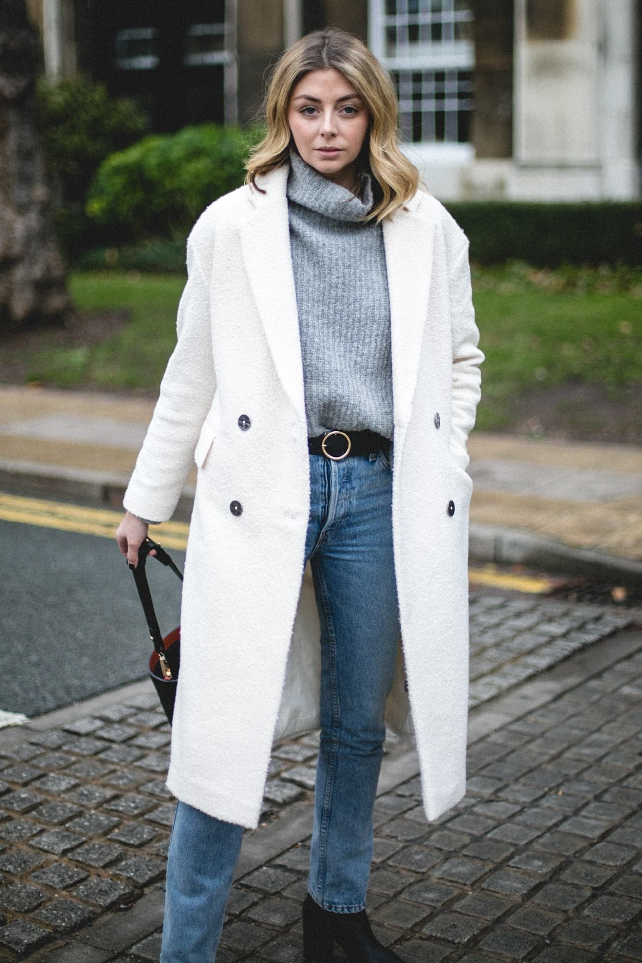 Emma Hill Wearing Off White Winter Coat Grey Chunky Knit Jumper