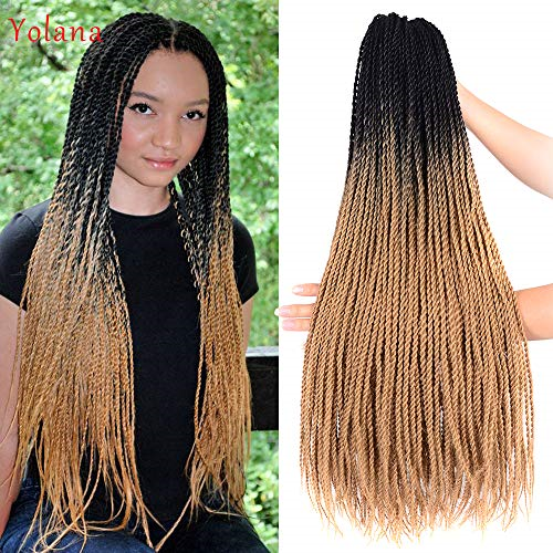 24 inch Ombre Senegalese Twist 2x Hair Crochet 30 Roots Synthetic Crotchet Hair #Ad , #affiliate, #Senegalese#Twist#Ombre #crochetsenegalesetwist