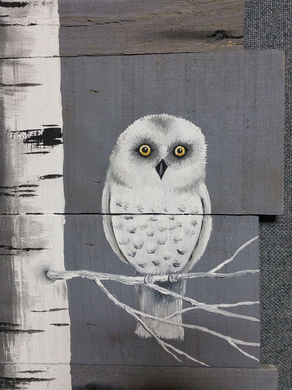Snowy White Owl Decor Birch Painting Reclaimed Pallet Art