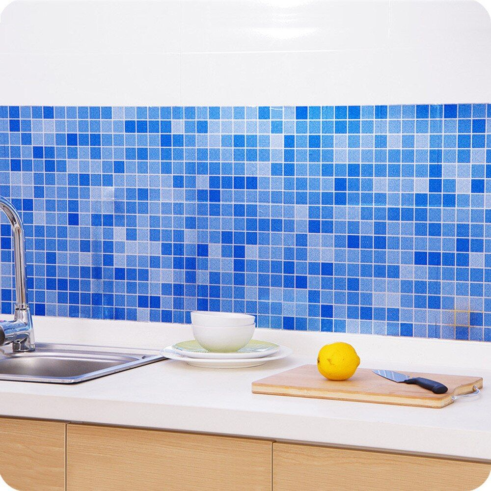 Home Kitchen Waterproof Anti-Oil Tile Decal Wall Sticker Self-adhesive Wallpaper