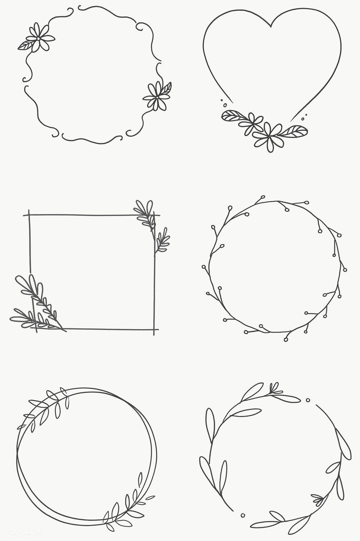 Download free png of Floral frame set transparent