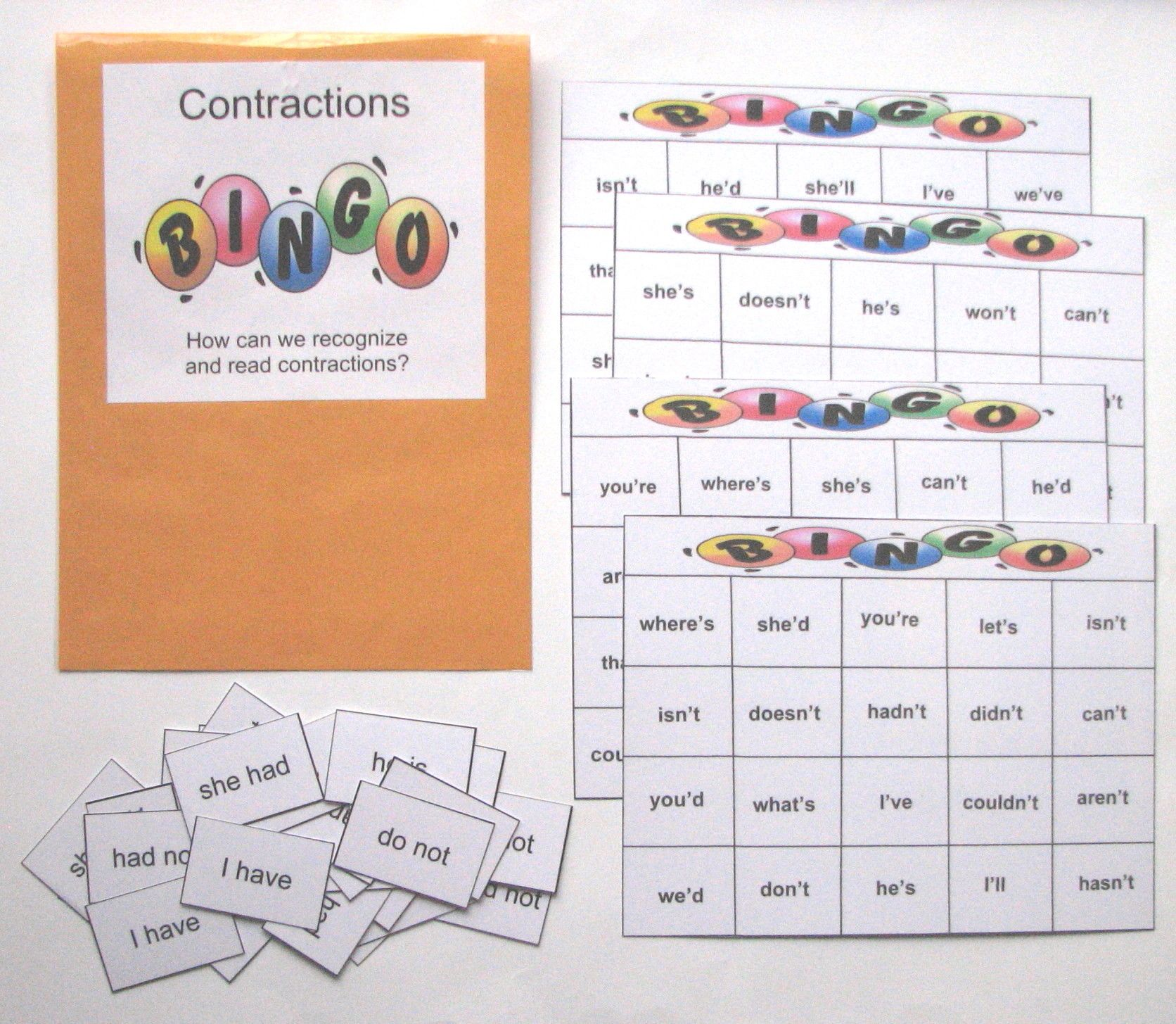 Contractions Bingo Students Can Practice And Reinforce