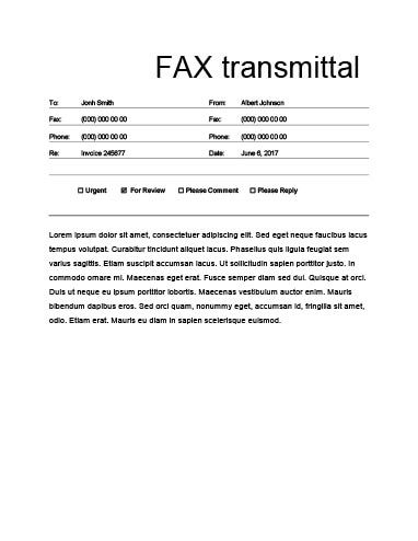 Free Fax Template By HloomCom  Documents    Template
