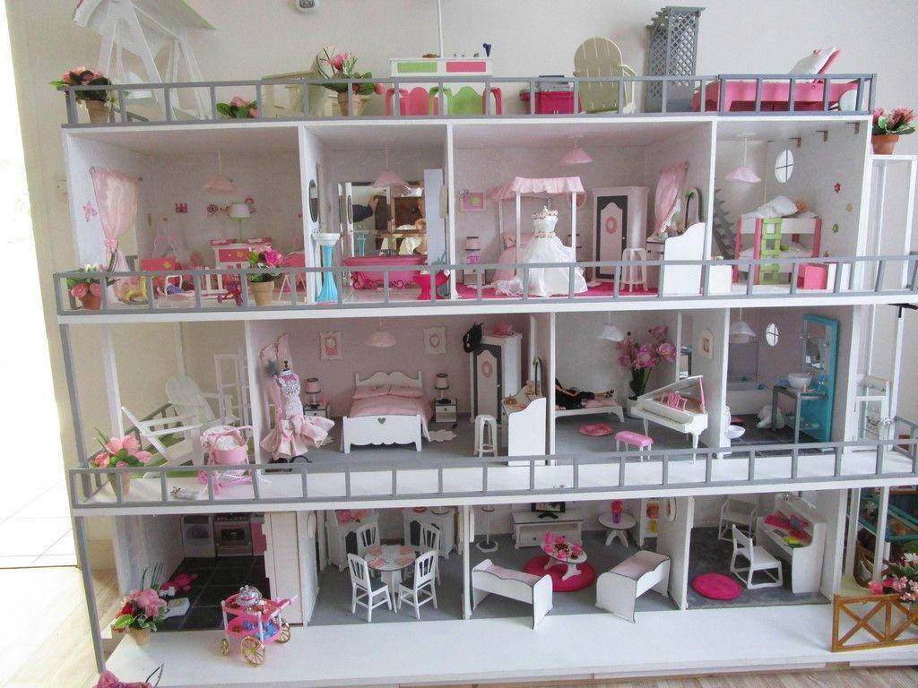Maison barbie tr s grand changement construction de maisons de poup e barbie dollhouses - Plan de maison de barbie ...