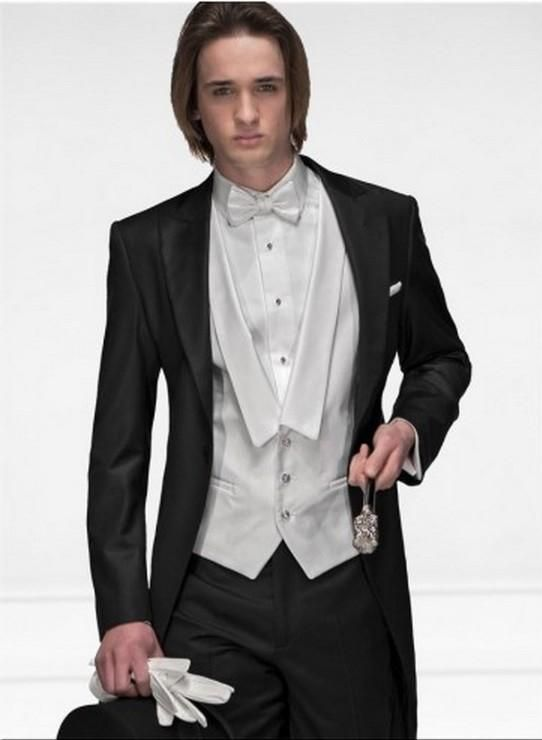 Morning Style One Button Black Groom Tuxedos Groomsmen Mens Wedding ...