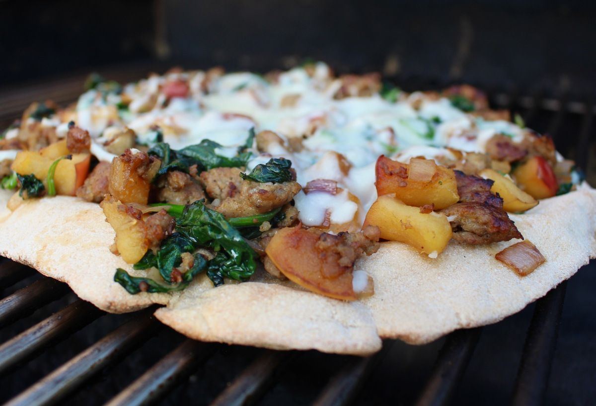 Sausage, Apple and Spinach Grilled Pizza (With images