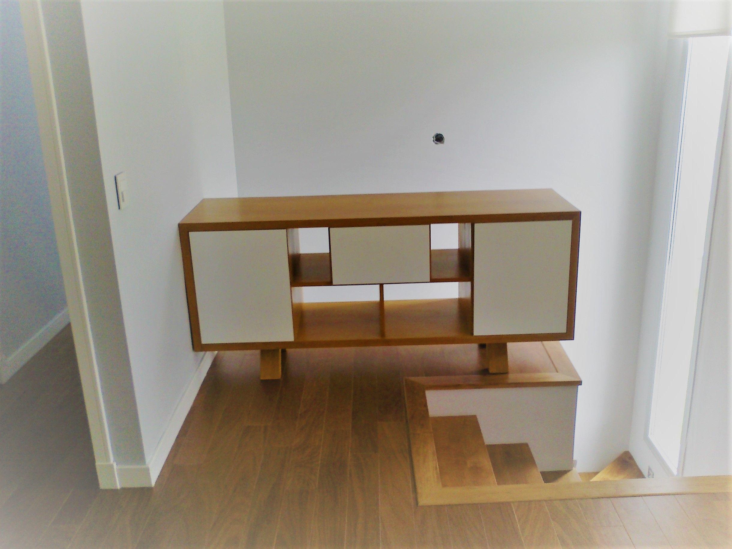Mueble Combinado En Madera Con Lustre Y Laqueado Blanco Muebles  # Muebles Naucalpan Juarez