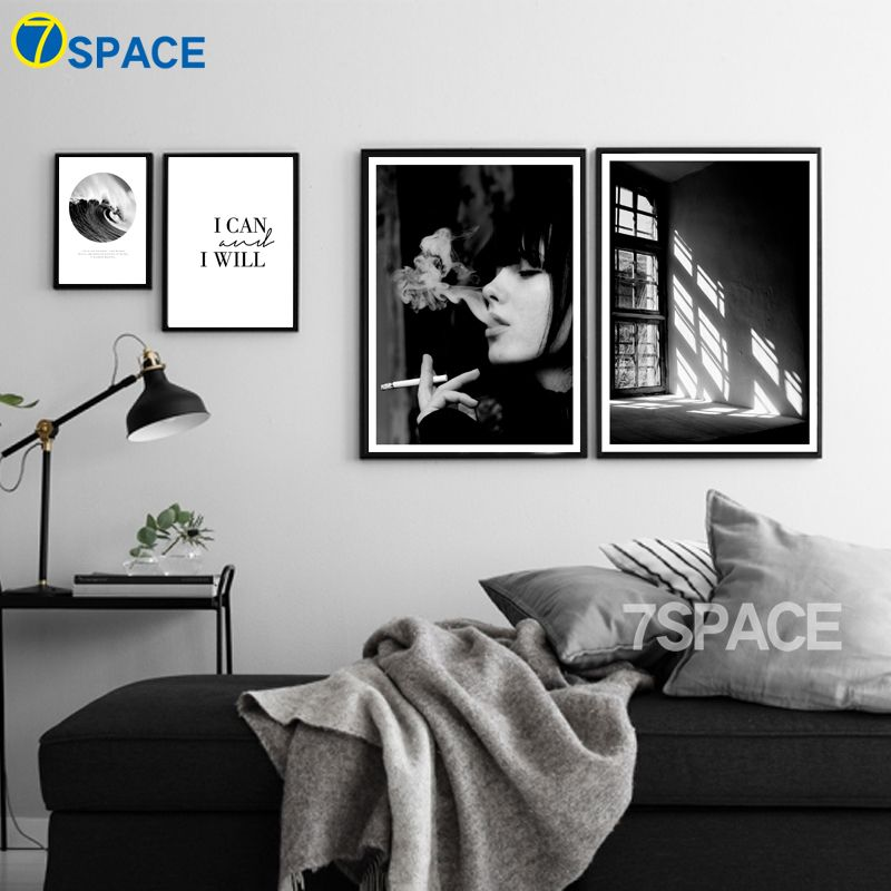 Nordic decor wall art canvas painting black white posters smoking girl print on canvas pictures for living room no frame adbsale