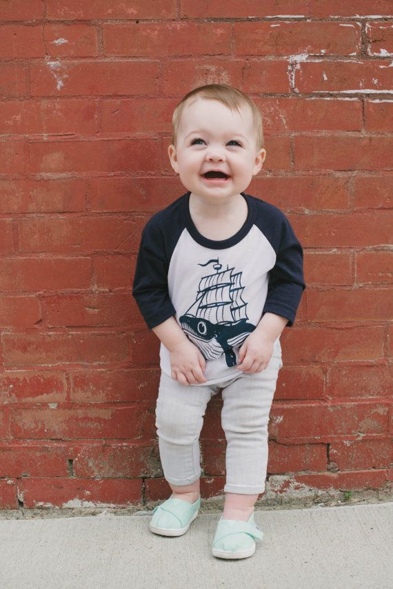 navy and white baby whaleboat baseball tee by acanthusapparel