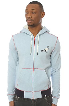 The Knight Zip Up Hoody in Heather Blue by Staple
