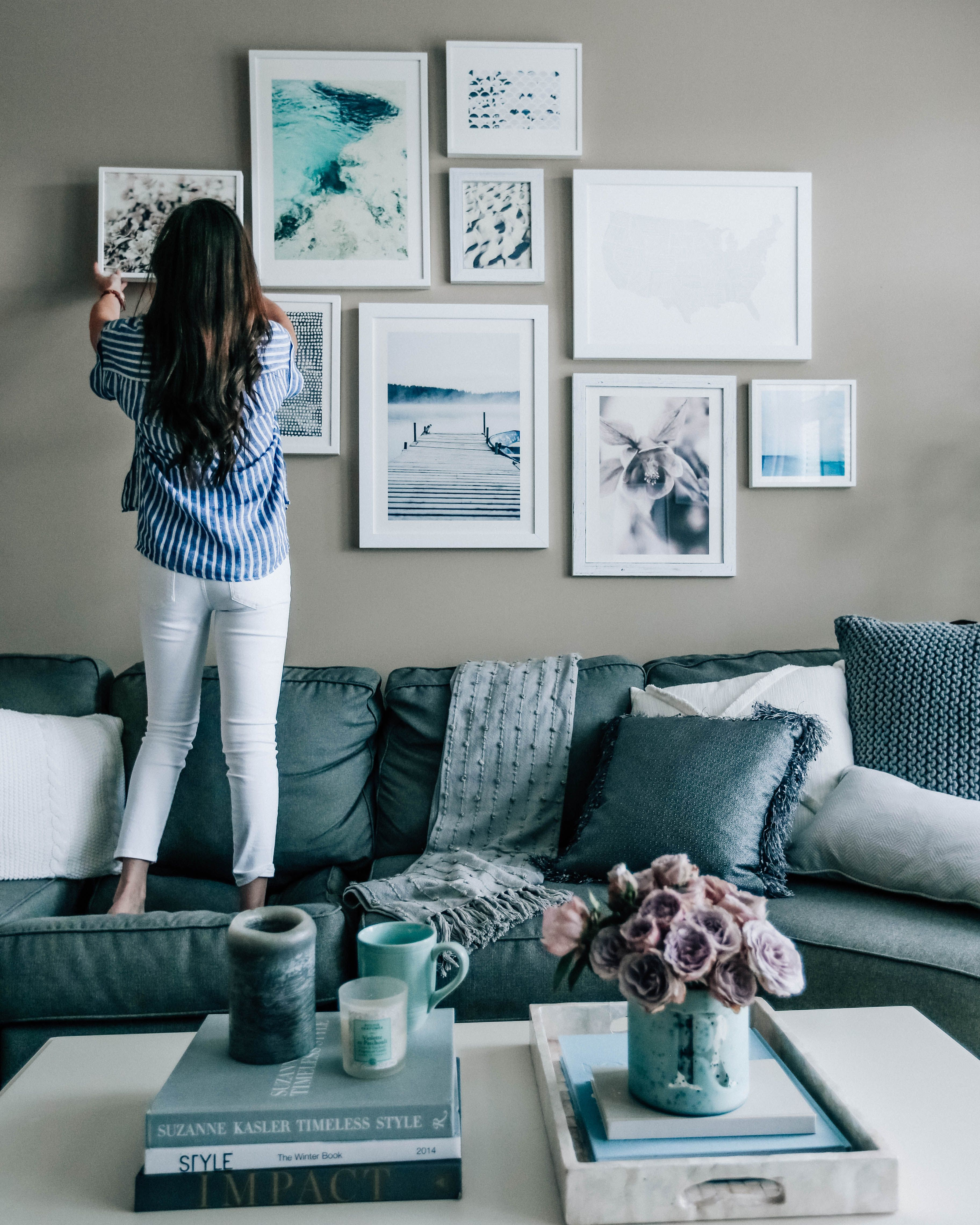 Living Room Decor Turquoise Ergonomic Furniture Home Spring Refresh Part 2 Style Pinterest Blue Grey Pretty In The Pines Lifestyle Blog Gallery Wall