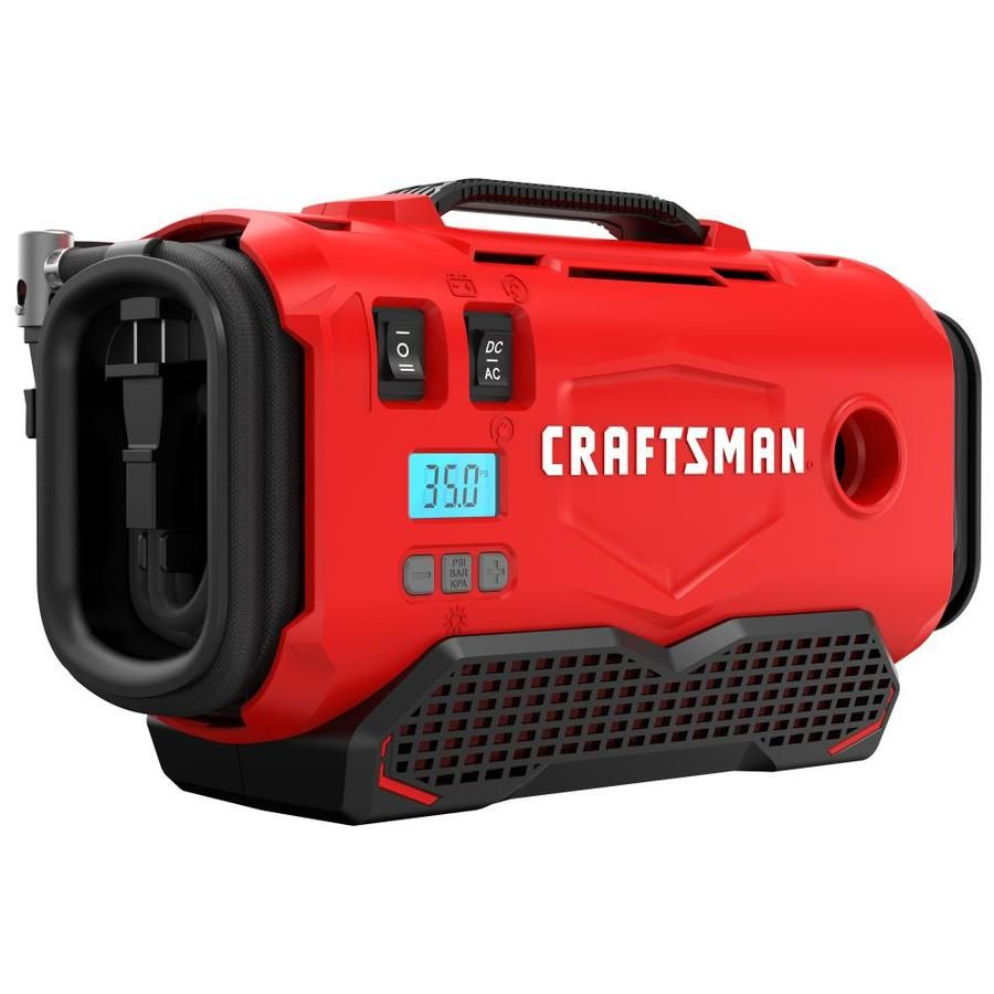 Craftsman 12 Volt And 120 Volt 120 Lithium Ion Li Ion Air Inflator Power Source Battery Car Electric Cmce520b In 2020 Power Tool Batteries Air Tools Car