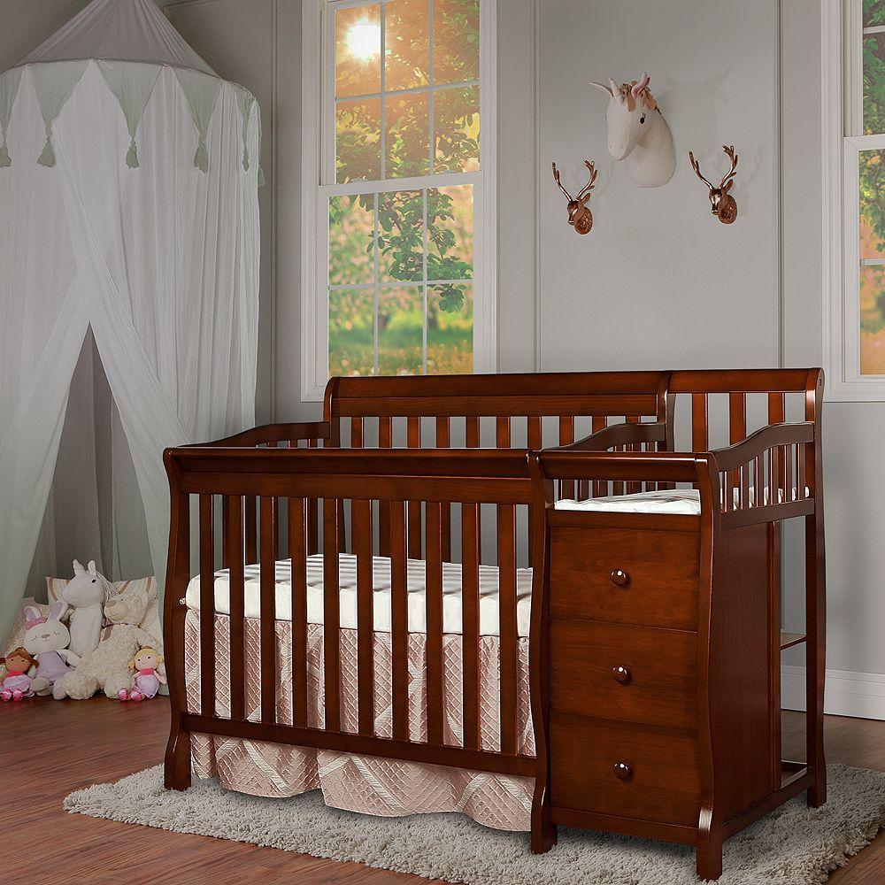 Dream On Me Jayden 4 In 1 Mini Convertible Crib Changer Brown Mini Crib Convertible Crib Cribs