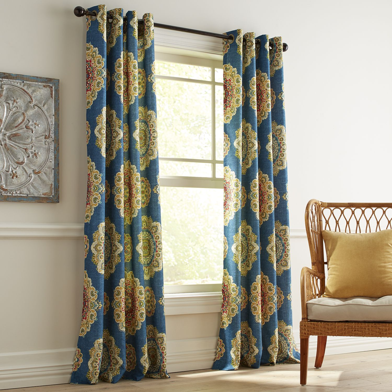 Suzani Navy Grommet Curtain