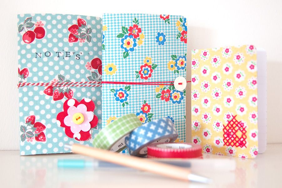 Fabric covered Moleskine notebook
