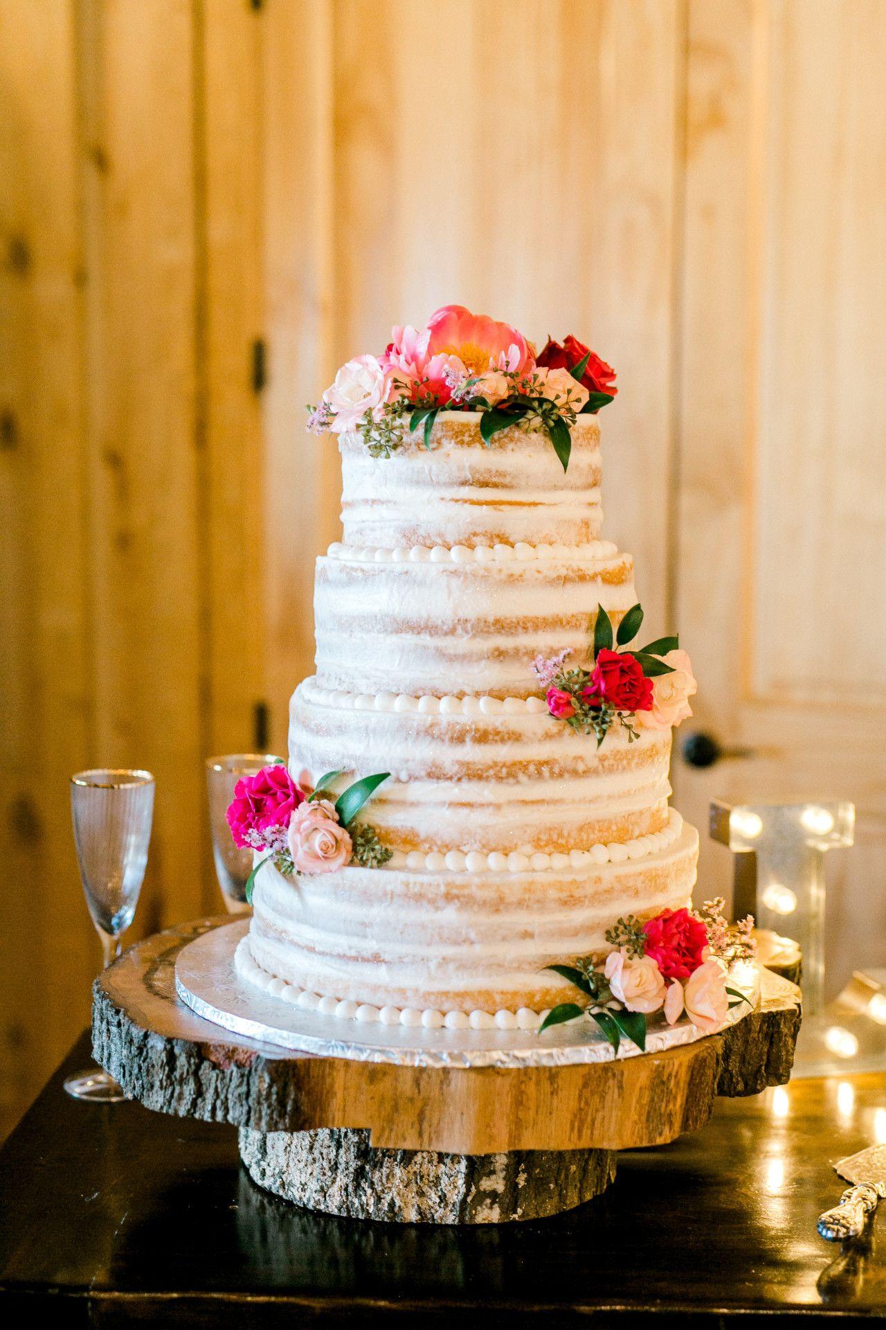 Naked Wedding Cake Summer Wedding Cake Hot Pink Wedding Cake