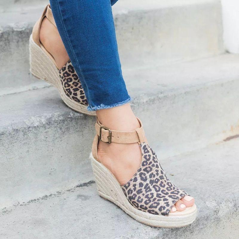 Plus Size Summer Women Wedge Heels Peep