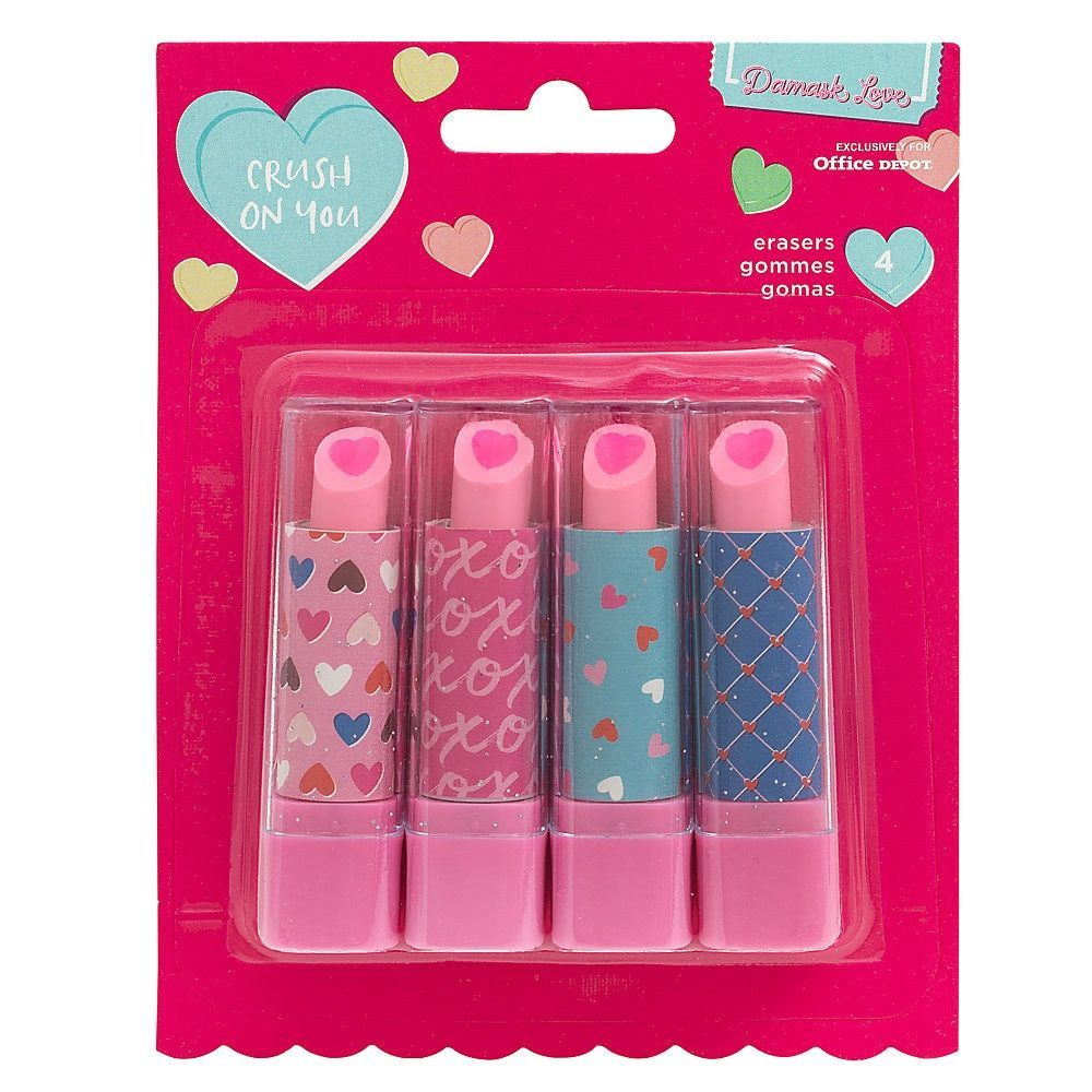 Photo of American Crafts Damask Love Valentine's Day Lipstick Erasers, Pack Of 4 Erasers …